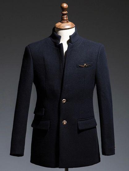 立领男大衣