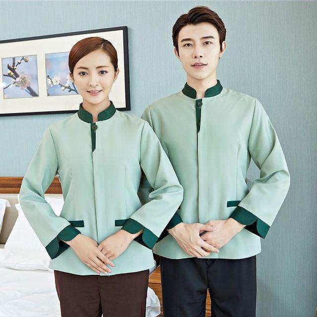 长袖宾馆客房服务员东莞工作服男女PA东莞工装双层
