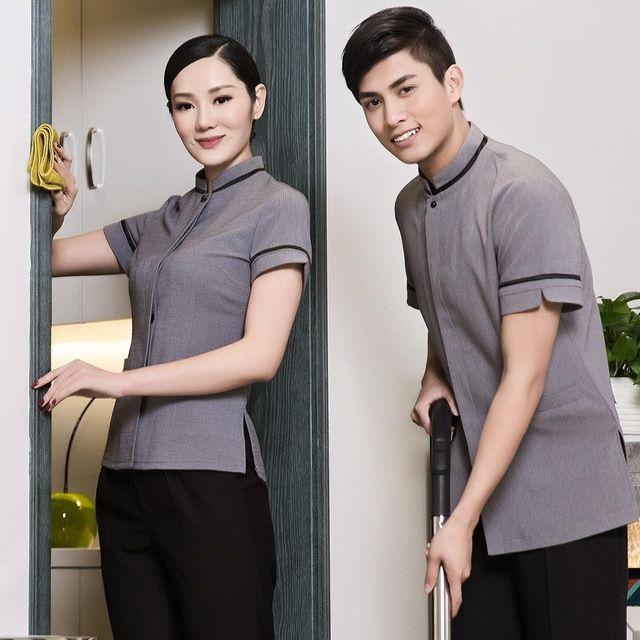 短袖宾馆客房小区物业清洁员男士东莞工装制服