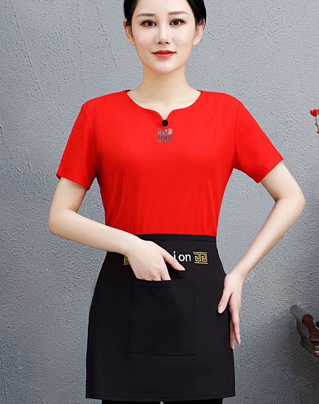 餐饮饭店服务员夏季修身东莞工作服装