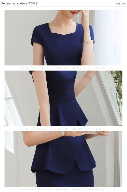 职业装 女套装夏季短袖 大码西服西装 正装套裙酒店前台美容师东莞工作服