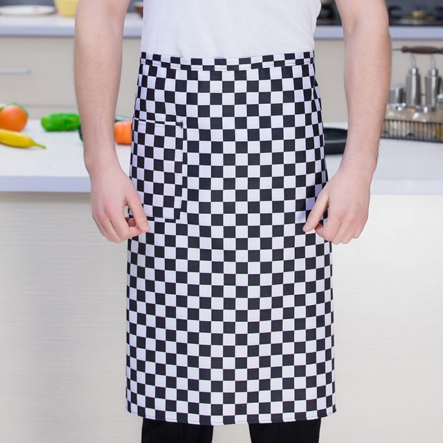 厨师半身围裙 酒店厨师围裙 黑色半腰餐厅厨房防污围裙定制厨师围裙