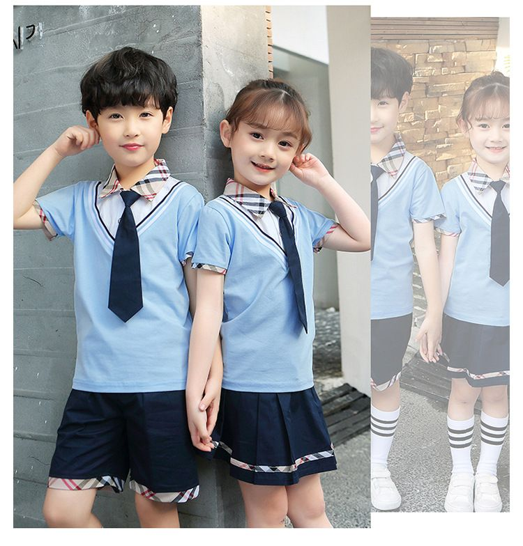 夏季幼儿园园服夏装 儿童运动会班服 学院风小学生校服纯棉短袖套装