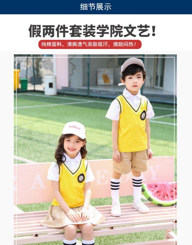 夏季幼儿园园服夏装 新款小学生校服纯棉套装 学院风儿童班服两件套