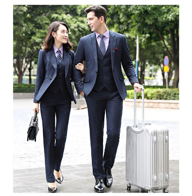 秋冬新款男款商务经理职业套装 蓝条纹西服套裤工作服两件套