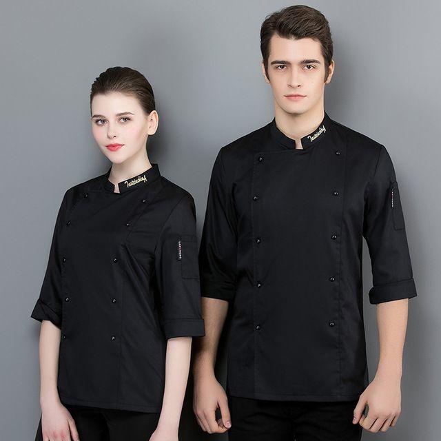 厨师工作服厨师服 白色女餐厅厨房工作服 七分袖男短袖透气上衣夏季
