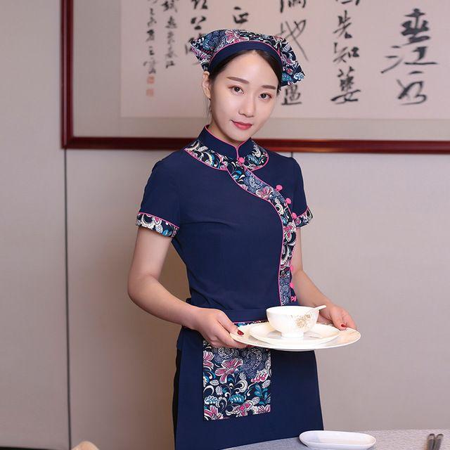 服务员短袖 纯棉兰花布民族特色农家乐酒店中餐厅夏季工作服男女