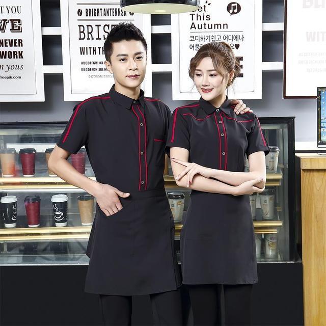 酒店工作服夏装 女餐厅餐饮饭店火锅店服务员工作服 短袖制服送围裙