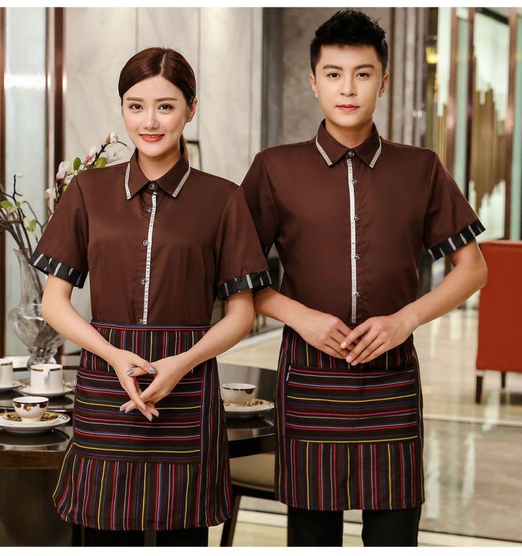 中式茶餐厅服务员工作服 短袖酒店餐饮火锅店饭店服装 咖啡奶茶店夏