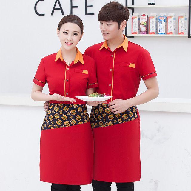 酒店工作服春夏装 餐饮火锅店西餐厅网咖啡厅服务员工作服 半袖男女