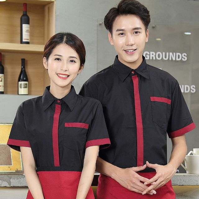 印字酒店服 西餐厅咖啡厅火锅店 烧烤店服务员 工作制服短袖 夏季男女款 员工接待服