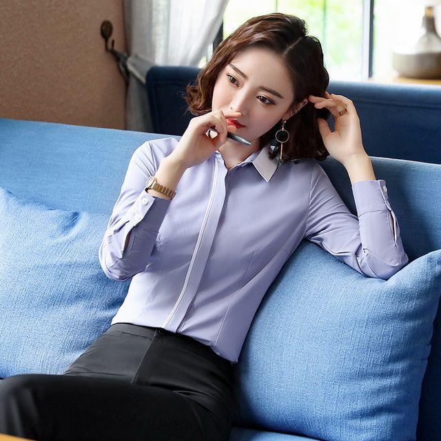 2018新款秋装韩版修身显瘦正装白衬衣