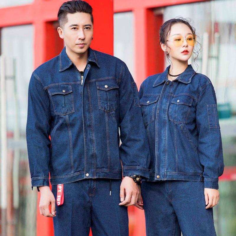 透气吸汗耐磨电焊汽修车间工厂服工程服牛仔套装33-D7014